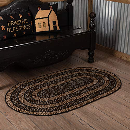 VHC Brands Classic Country Primitive Flooring - Farmhouse Jute Black Teppich, Textil, Non-Stenciled, 36 x 60 - Heartland-zubehör
