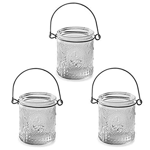 Set of 3 Vintage Glass Tea Light Votive Candle Holders Home & Wedding Decoration
