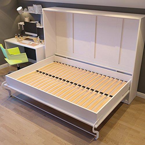 Schrankbett 120×200 cm Horizontal Weiß, ideal als Gästebett – Wandbett, Schrank mit integriertem Klappbett, SMARTBett - 5