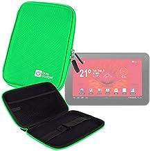 """DURAGADGET Funda Rígida Verde Lima Para Tablet Woxter Dx 70 / Moonar Allwinner A13 9"""" - Con Bolsillo De Red En Su Interior"""