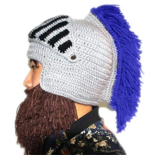 Lustiger Winter-Warmer Bart-Hut-Cosplay römischer Ritter Knit-Sturzhelm-ursprüngliche barbarische handgemachte Mützen der Männer Kappen Blue Tassel for Adult