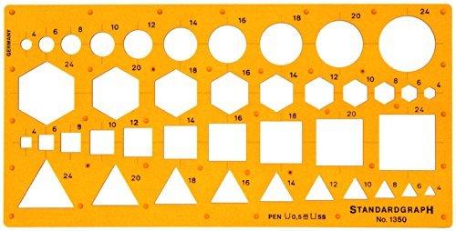 Zeichenschablone für Dreieck-, Quadrat-, Kreis- und Sechseck-Formen
