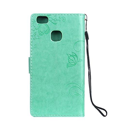 Cover Huawei P9 Lite, Alfort 2 in 1 Custodia Protettiva in Pelle Verniciata Goffrata Farfalle e Fioria Alta qualità Cuoio Flip Stand Case per la Custodia Huawei P9 Lite Ci sono Funzioni di Supporto e  Verde