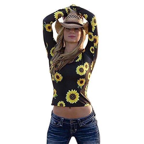 VENMO Mode Frauen Übergang Sonnenblumen-Druckoberteile Langarm O-Neck Drucken Bluse Lässige T-Bluse T-Shirt O-Ausschnitt mit Schnürung Vorne Oberteil Tops Bluse Shirt fit silm Hemd (S, Black) -