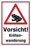 Schild - Vorsicht - Kröten-wanderung - 15x10cm | stabile 3mm starke PVC Hartschaumplatte – S00359-101-B +++ in 20 Varianten erhältlich