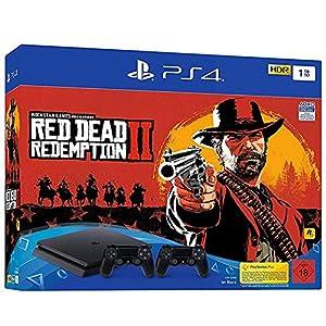 PlayStation 4 – Konsole( 1TB, schwarz, slim) inkl. Red Dead Redemption 2 + 2 DualShock Controller
