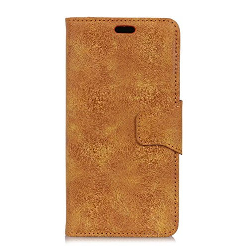 LMFULM® Hülle für Alcatel A7 XL 7071D (6 Zoll) PU Leder Magnet Brieftasche Lederhülle Retro Geschäft Design Stent-Funktion Tasche Handyhülle für Alcatel A7 XL Gelb