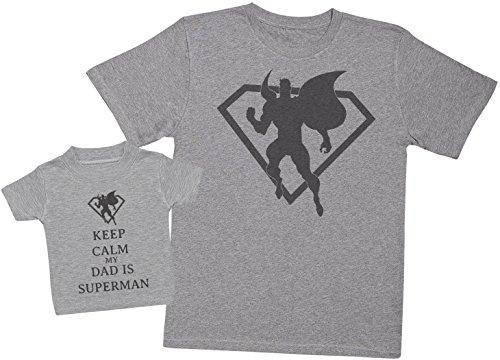 Keep Calm My Dad is Superman - Passende Vater Baby Geschenkset - Herren T-Shirt & Baby T-Shirt/Baby Top - Grau - X-Large & 3-6 Monate