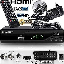 Strom 505 Décodeur TNT Full HD -DVB-T2 - Compatible HEVC265 - (HDMI, Péritel, USB, Dolby Digital Plus) Noir