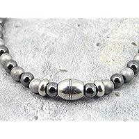 Collana Thurcolas in ematite e acciaio inox della gamma Black Pearl