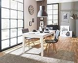 Esstisch 'Franzis Weiß' Holztisch Weiß ausziehbar vier Größen, Maße:160-200x76.5x80