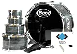 BSD Jazz Drum - Große Steinbach Kinderschlagzeug - Schlagzeug mit 5 Trommeln und 2 Trommelstöcken - Schlagzeug Drumset - Kinder Trommel - Set Schlagzeug Drumset 9-TLG