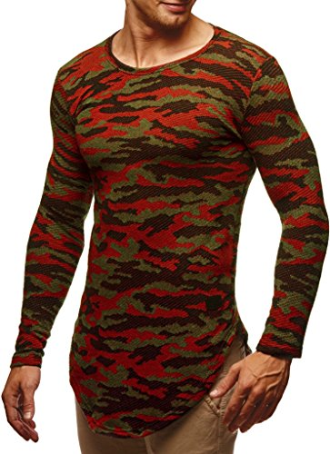 LEIF NELSON Herren Pullover Rundhals-Ausschnitt | Männer Longsleeve | dünner Pulli Sweatshirt Langarmshirt | Jungen Hoodie T-Shirt Langarm | LN6364 Camouflage Rot-Toene Small