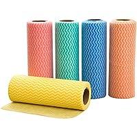 BESTONZON 5pcs toallas de limpieza desechables Toallas de Plato Paño De Limpieza Multiusos reutilizables Toallitas para la limpieza rollos (Color aleatorio)