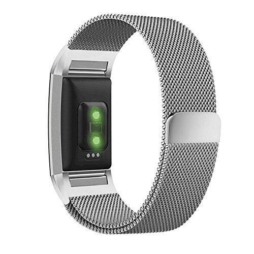 Greatfine Smartwatch Armbänd Ersatz Milanese Band für Fitbit Charge 2 Uhrenarmband (SilverMilan, XL,15-24cm)