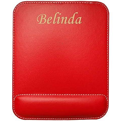 Almohadilla de cuero sintético de ratón personalizado con el texto: Belinda (nombre de pila/apellido/apodo)