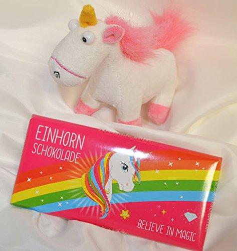 #3305 Geschenkset EINHORN : Plüschtier Einhorn, Einhorn Schokolade Regenbogen ca. 80 gr.
