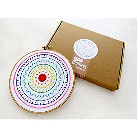 Ricamo Punto Croce Kit, moderna ricamo a mano kit per principianti, cerchio arcobaleno Art Tutorial, Cucito, kit per adulti, Cucito, kit da cucito, per imparare a ricamare, Moderno - Grande Embroidery Hoop