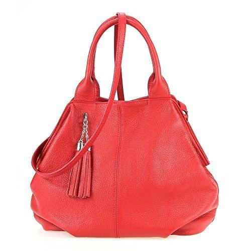 OBC Made in Italy echt Leder Shopper Henkeltasche Umhängetasche Tasche City Bag Schultertasche 35x30x15 cm (BxHxT) Rot