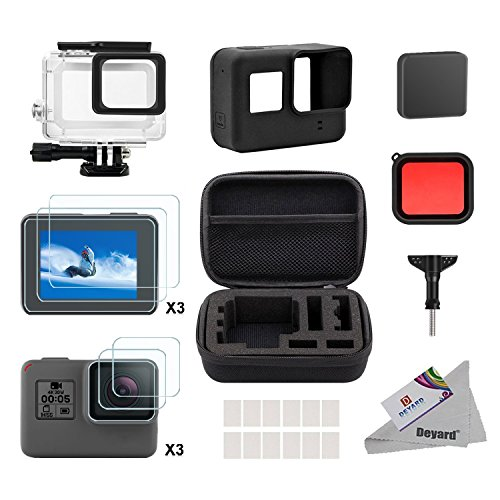 Deyard 25 in 1 Zubehör-Kit für GoPro Hero (2018) GoPro Hero 6 Hero 5 mit Shockproof Small Case Bundle für GoPro Hero (2018) GoPro Hero 6 Hero 5 Action-Kamera (1 Pro Go Hero)