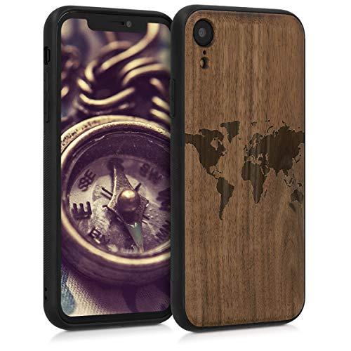 kwmobile Holz Schutzhülle für Apple iPhone XR - Hardcase Hülle mit TPU Bumper Walnussholz in Weltkarte Umriss Design Dunkelbraun - Handy Case Cover