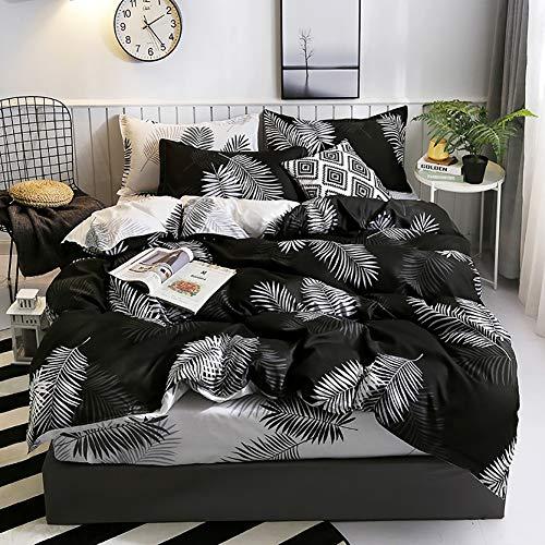 TINE Bettwäsche Schwarzer Bezug Set Weiße Feuilles Bettdecken Bezug & Kissenbezug Bettbezug mit Reißverschluss Modern Style Lightweight für Männer und Frauen,135x200cm