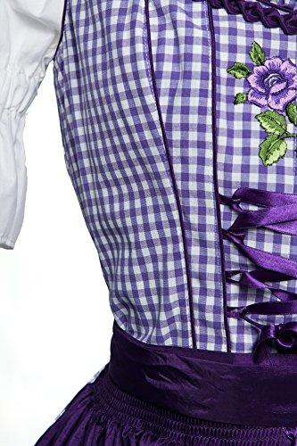 Mini Dirndl lila kariert mit herrlichen Blumenstickereien und bestickte Schürze 2 tlg Lila