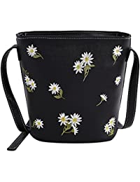 Rrimin New Fashion Women PU Leather Flower Printed Barrel Bag Mini Shoulder Crossbody Bag