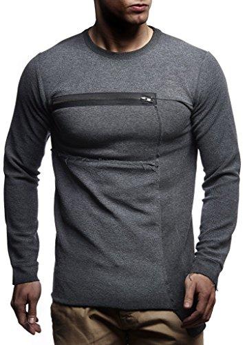 LEIF NELSON Herren Pullover Longsleeve Hoodie Sweatshirt Sweatshirt Basic Rundhals Langarm Oversize Shirt Hoody Sweater LN1021; Größe S; Anthrazit |