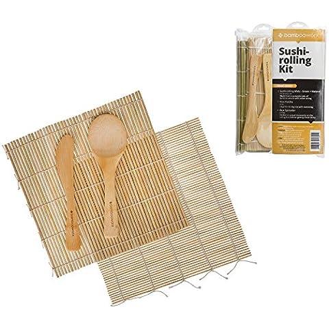 BambooWorx- Sushi Fare Kit, 2 stuoie di rotolamento sushi, (verde