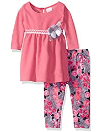 Youngland Baby Girls' Knit Mini Dress with Floral Knit Legging