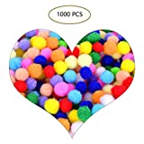 OZUAR Mini Pompons, 1000 STÜCKE Pompon Ball, Bunte Pompom 10-15mm Pom Pom bälle Flauschigen Bälle für Lustige DIY Kreative Handwerk Dekoration