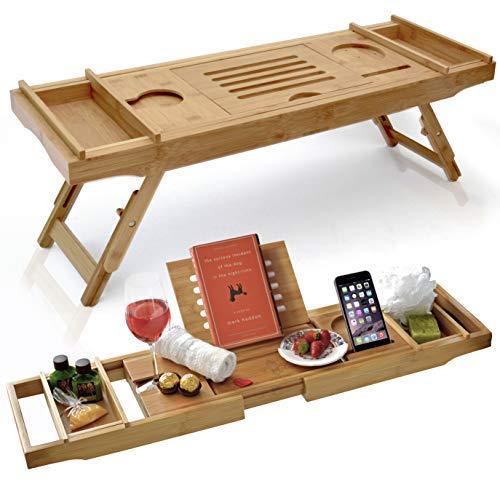 Laptop-schreibtisch-caddy (Elite Creations Badewanne Caddy & Laptop Bett Schreibtisch-2in 1Innovatives Design verwandelt Unsere 100% Bambus Badewanne Schacht zu Bett Tablett-für das Ultimative Verwöhnende Erfahrung)