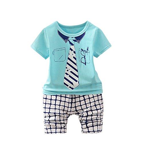 Baby Boy Suit Kleidung Set 2 Stück Sommer Outfit kurze Shirt Top und Plaid Capri kurze Hose für 9 Monate bis 3 Jahre alt