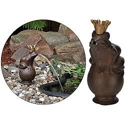 Gárgola, diseño de príncipe rana, 22cm, incluye bomba para estanque, metal