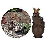 Gargouille roi des grenouilles 22cm avec pompe de bassin Figurine décorative de jardin en métal