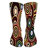 "uytrgh Outdoor Sports Men Women High Socks Stocking Aboriginal dot Art Circle Aboriginal dot Art Circle Pattern Tile Length 19.7""(50cm) Colorful 7530 -"