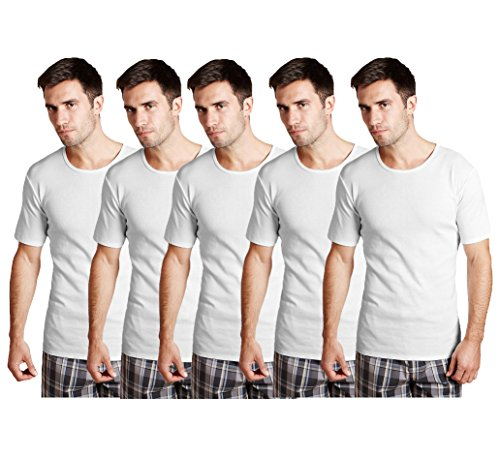 Pack of 5 Set Mens 100% Soft Cotton White Vests, Made of fine quality Yarn, Gentle and Comfortable feel Assured,The garment can last long, The Vests are Lightweight and Designed for a Perfect Fit available in various sizes and colors. Reasonable Pric...
