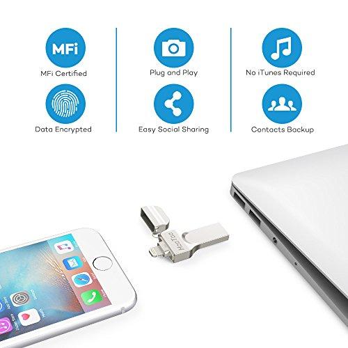 Flash Laufwerk HooToo 128GB USB Stick MFi zertifiziert mit Lightning Stecker und USB 3.0 Stecker für iPhone, iPad und Computer
