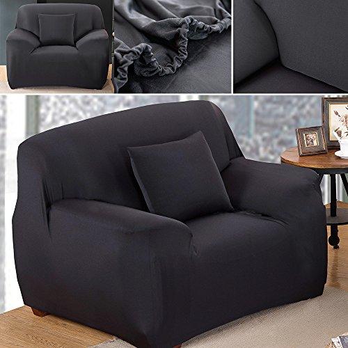 Sofabezug Sofahusse Sofaabdeckung Sesselbezug Sesselhusse Sofaüberwurf Stretch Elastisch (Sessel 90cm-140cm, Schwarz)
