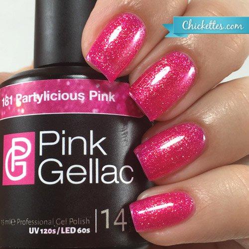 Vernis à ongles Pink Gellac 181 Partylicious Pink. 15 ml gel Manucure et Nail Art pour UV LED lampe, top coat résistant shellac