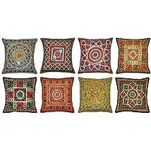 Labhanshi 10 fundas de cojín bordadas de Sari Patchwork, 16 x 16 fundas de almohada