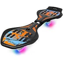 Enkeeo - Waveboard con PU ruedas de iluminación (Tabla de ABS material reforzado, resistencia 220lbs, para entrenamiento, ejercicio de equilibrio) Negro