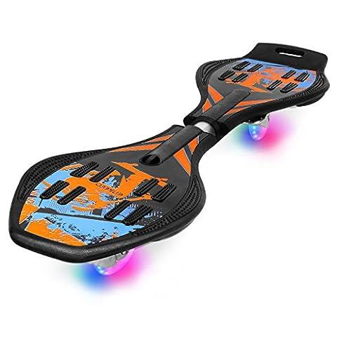 Enkeeo Waveboard mit Tasche und LED Rollen, Skateboard, Streetsurfing-Board (Blau)