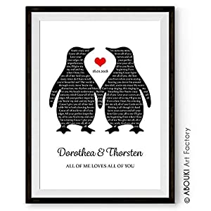 Dein Song Pinguin ABOUKI Kunstdruck Poster Bild mit eigenem Text personalisiert Geschenk-Idee für Sie Ihn Frauen Männer…