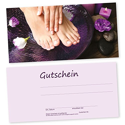 50 Fußpflege-Nagel-Gutscheinkarten HAND & FUß mit transparenten Umschlägen Gutscheine, Geschenkgutscheine