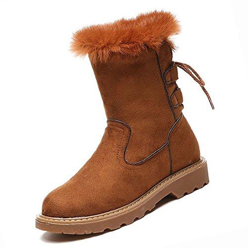 HSXZ Scarpe da donna in pelle scamosciata Winter Snow Boots stivali Null Chunky tallone punta tonda Mid-Calf Stivali / per Casual marrone Nero Grigio Gray