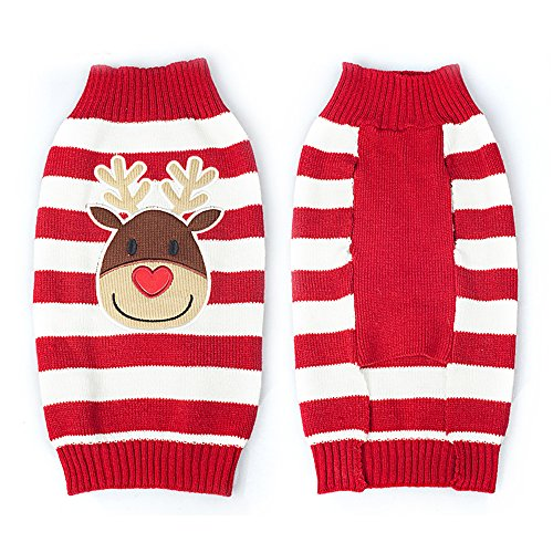Christmas Dog Pet Puppy Cat Warm Jumper Knit Sweater Clothes Striped Santa Claus Knitwear Coat Costumes Apparel