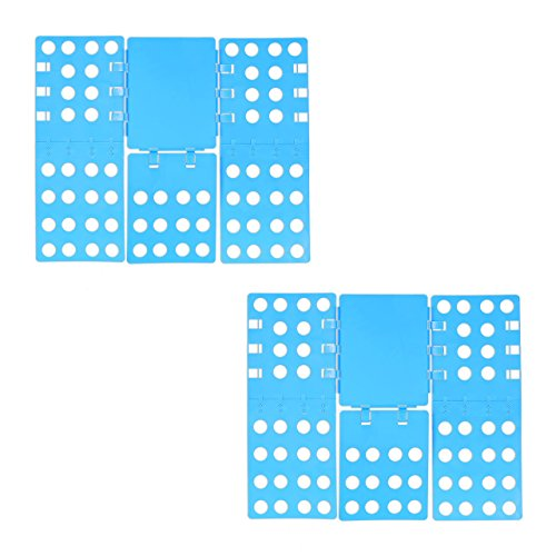 Relaxdays 2X Wäschefalter 3. Generation, klappbar, Faltbrett für Shirts, Hemden, Flexibel, Flip, Fold, B x T: 68 x 57 cm, Blau