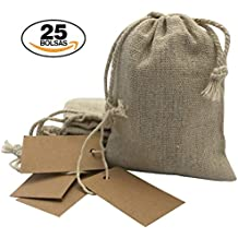 Bolsitas para regalos de tela de arpillera con etiquetas de papel Kraft. Bodas, comuniones